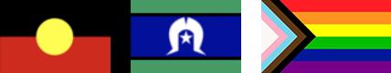 Aboriginal, Torres Strait Islander and Pride flags
