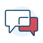 Icon containing two dialogue boxes (white and red) intertwined representing a conversation.