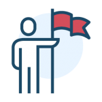 Icon of an individual holding a flag