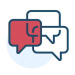 Icon - dialogue boxes representing - encourage communication